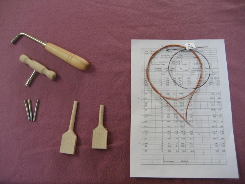 2 viritysavainta, niritystappeja teräksestä 5x50 mm, puutappiaihiot jouhikkoon ja kanteleeseen, kielilaskelma ja pari punoskieltä